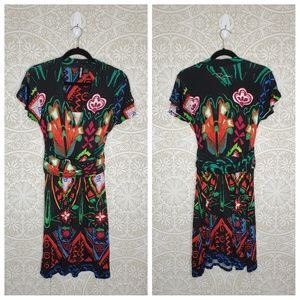 DESIGUAL Floral Abstract Black Viscose Dress S